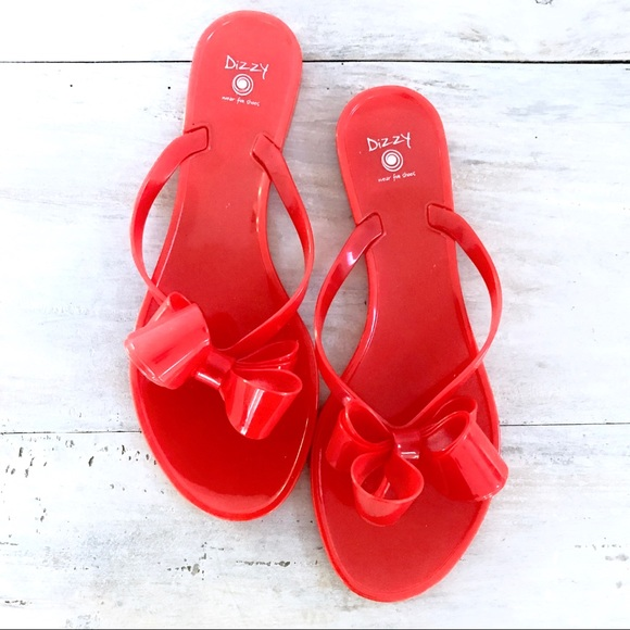 8587a38c303067 Dizzy Shoes - Red Dizzy Oversized Bow Jelly Flip Flop Sandals 8